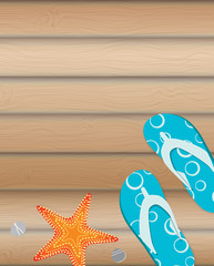 Sandals and Starfish Summer Background