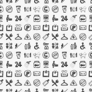 seamless doodle public sign pattern