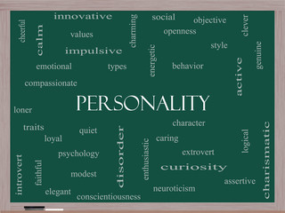 Personality Word Cloud Concept on a Blackboard