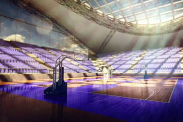 Basketball arena render in orange toning