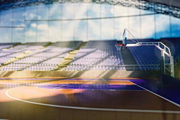 Basketball arena render in orange toning