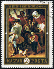 stamp printed by Hungary, shows The Feast, by Jan Steen