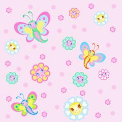 Children's background with pretty butterflies