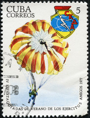 stamp printed by Cuba, shows Paratrooper