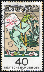 stamp printed in German  shows Simplicissimus Teutsch