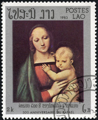 """stamp shows painting """"Madonna Granduca"""" by Raphael"""
