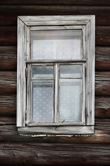 window of the old rural log house