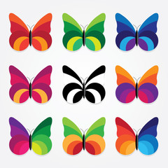vector set of nine trendy flat design colorful butterflies