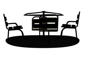 Silhouette Swing Black on White Background. Vector Illustration.