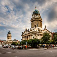 French and German Cathedrals on Gendarmenmarkt Square in Berlin,