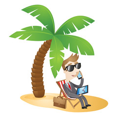 Businessman, chair, beach, working, palm tree