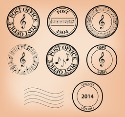 set - vector music post stamps. Eps 8.
