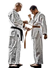 karate men teenager students teacher teaching