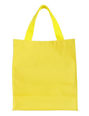 yellow canvas shopping bag isolated on white background with cli