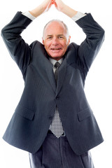 Businessman greeting with hands clasped