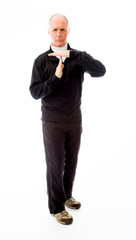 Senior man showing time out sign with hands