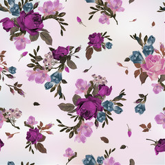 Vector seamless floral pattern with roses and freesia