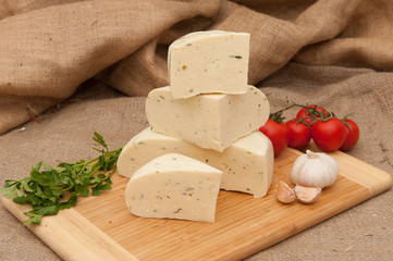 White cheese with spices and vegetables