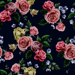 Vector seamless floral pattern with roses on black background