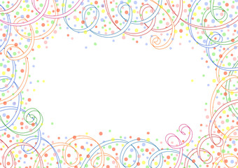 Festive background with ribbons and circles