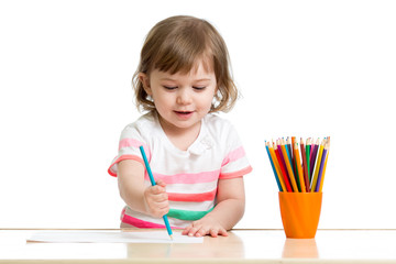 kid girl drawing with color pencils