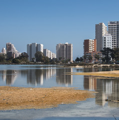 Apartment blocks with reflections over the wetland in Calpe, Spa