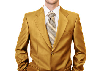 Master of business dressed in gold suit