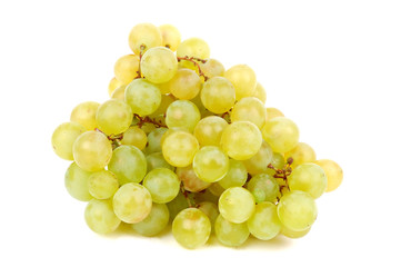 Green fresh grape on white background