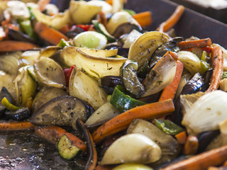 Budapest, Hungary, Fair. The mixture was stir-fried vegetables
