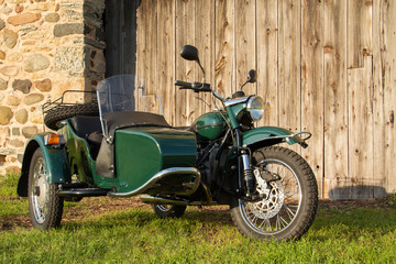 Sidecar Motorcycle - with Rustic Background