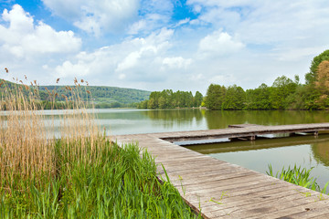 Pier at Lake Echternach in Luxembourg