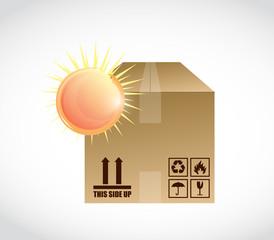 box and bright sun illustration design