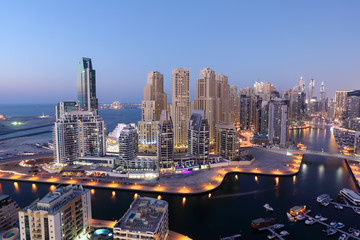 Wall Mural - Dubai Marina illuminated at night. United Arab Emirates