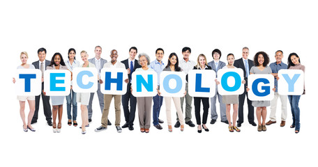 Wall Mural - Business People Holding The Word Technology