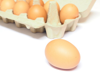 Chicken brown eggs in a carton package