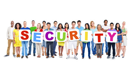 Group of People Holding Word Security