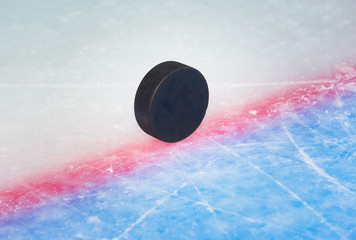 Hockey puck on goal line