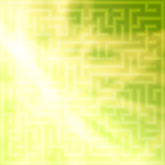 Yellow-green background with maze