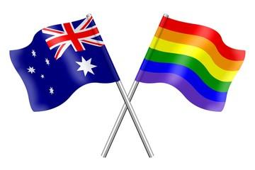 Flags: Australia and rainbow