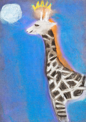 children drawing - giraffe in blue night