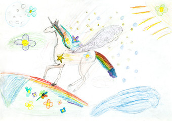 children drawing - fairytale unicorn