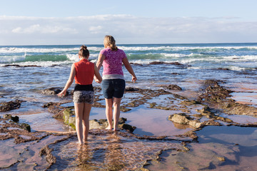 Girls Beach Ocean Explore Rock Pools