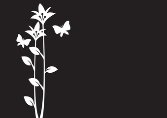 vector illustration of flower and butterflies