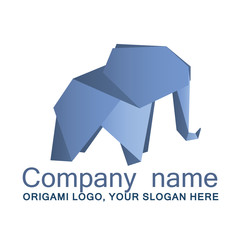 Origami elephant, elephant logo