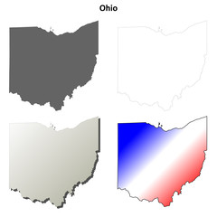 Ohio blank outline map set