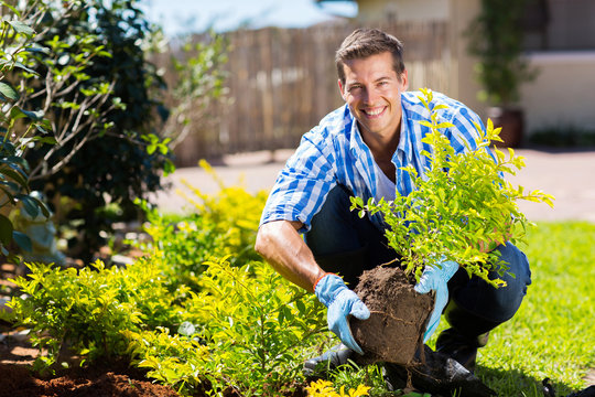 happy young man gardening