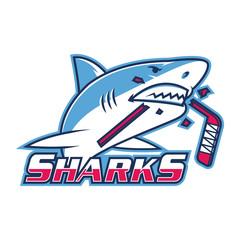 Emblem shark bites hockey stick