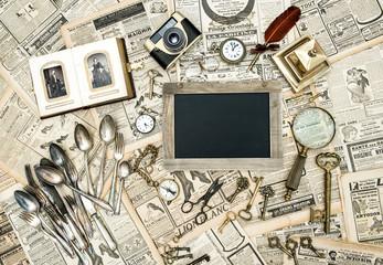 Vintage collectible goods. Keys, photos, cutlery