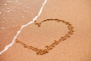 Heart on sand taked by waves