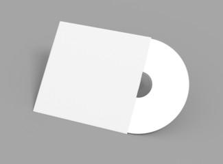 Compact Disc mit Hülle aufgestellt auf grauem Hintergrund